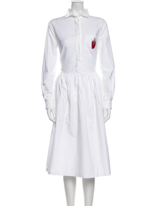 Shrimps Mock Neck Midi Length Dress White
