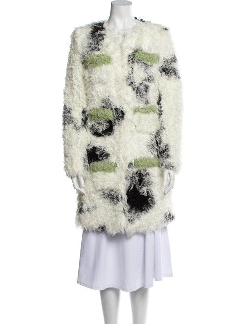 Shrimps Floral Print Faux Fur Coat White