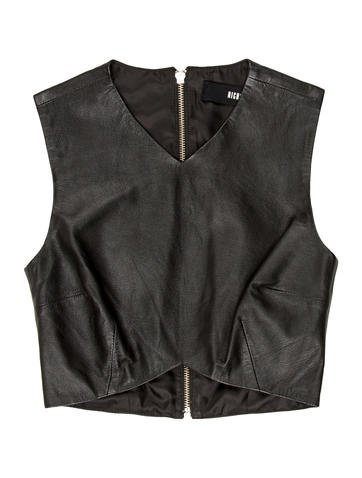 Nicholas Leather Crop Top None