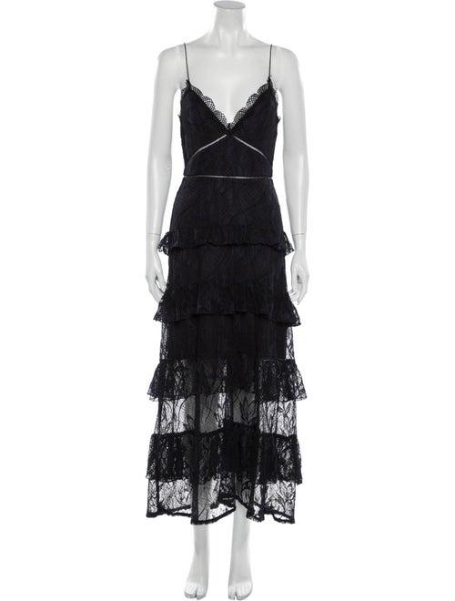 Nicholas Lace Pattern Long Dress Black