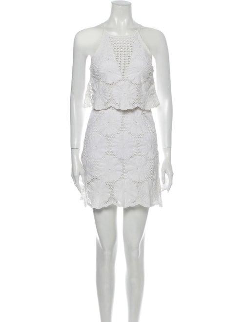 Nicholas Lace Pattern Mini Dress White
