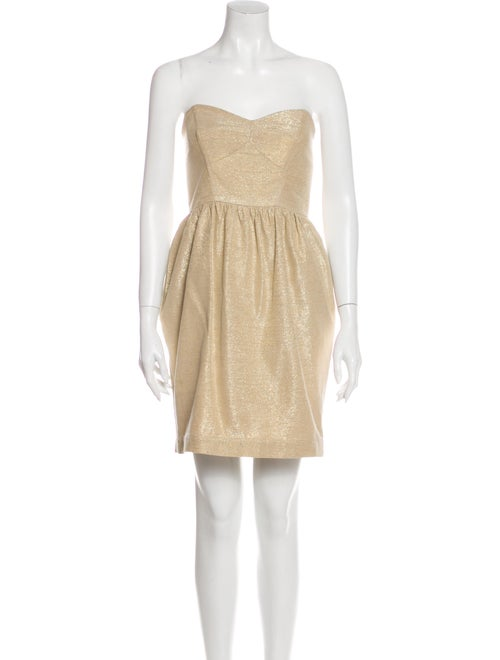 Shoshanna Strapless Mini Dress Gold