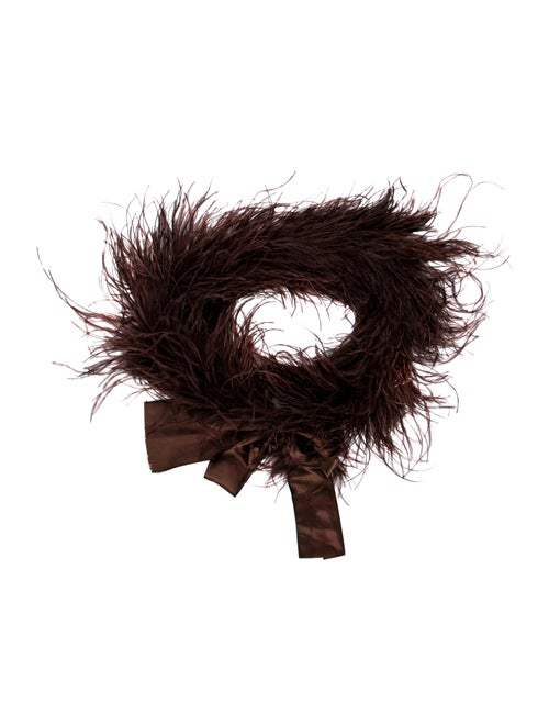 Annabelle Ostrich Feather Stole Brown
