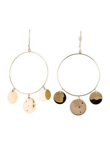 14K Diamond Disc Drop Earrings