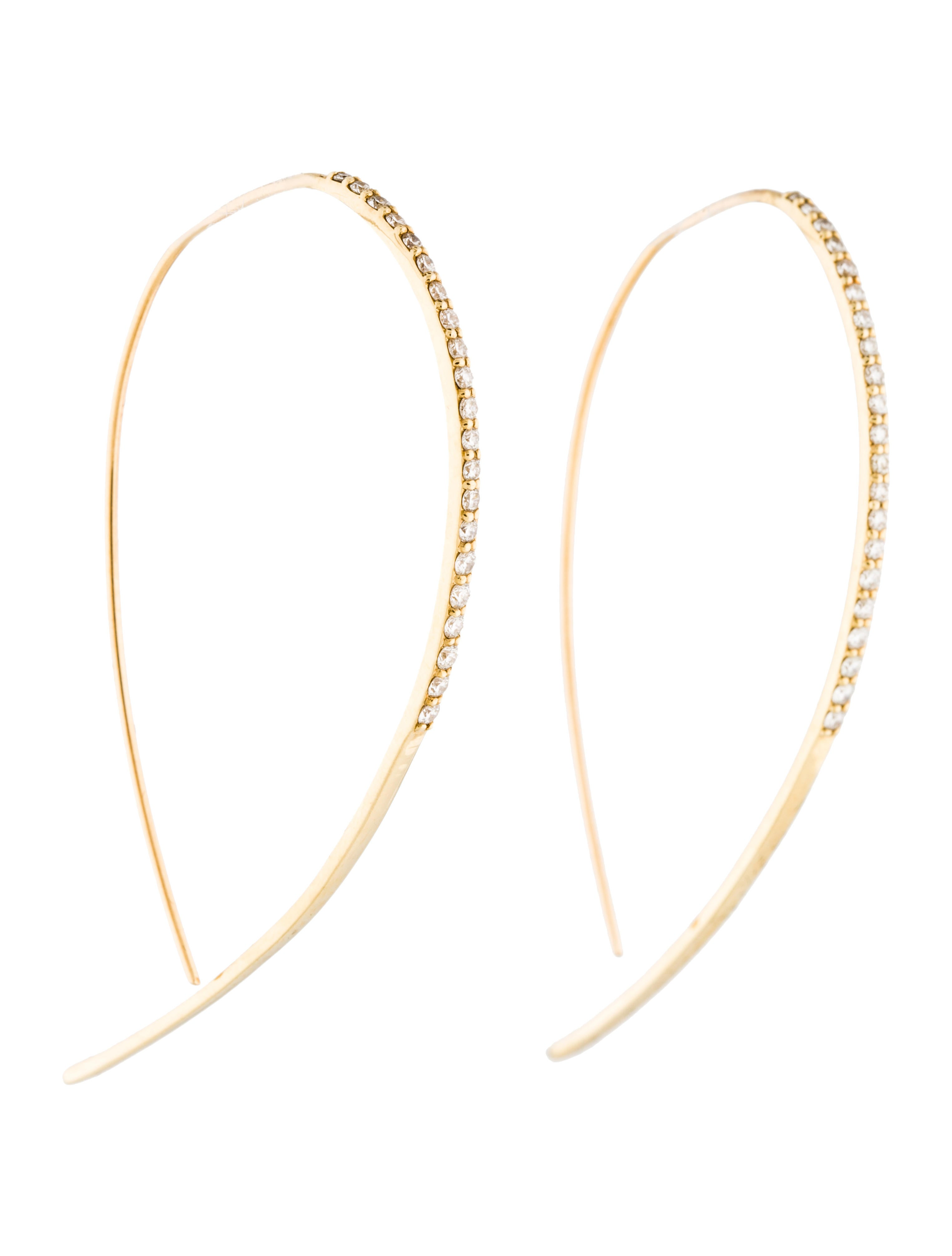 b331a394e6932c Lana Jewelry 14K Diamond Fatale Hooked On Hoop Earrings - Earrings ...