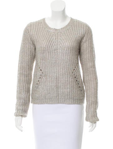 Line Coated Knit Sweater None