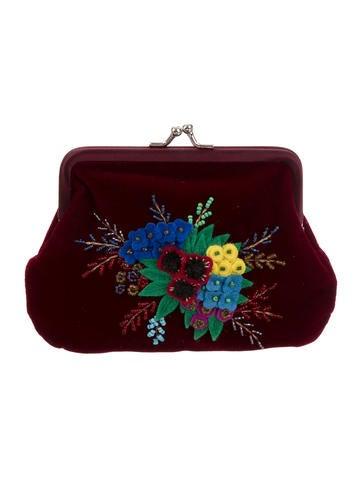 Embroidered Velvet Coin Purse