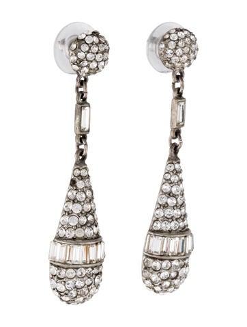 Clear Crystal Deco Teardrop Earrings