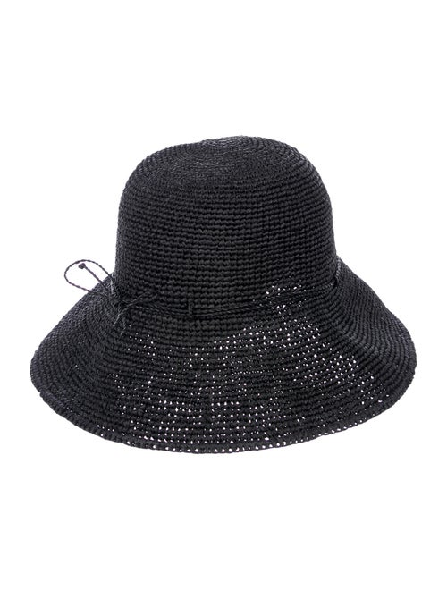 Helen Kaminski Raffia Bow Hat Black
