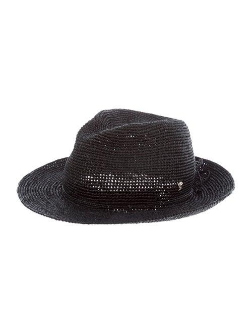 Helen Kaminski Raffia Fedora Hat Black