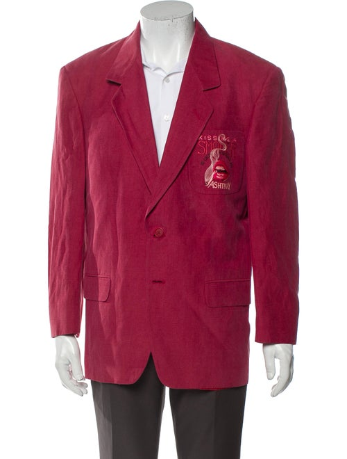 Iceberg Linen Embroidered Accent Sport Coat Red