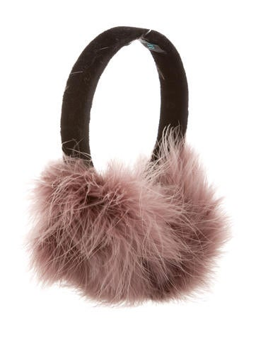 Jocelyn Velvet Feather-Trimmed Earmuffs w/ Tags