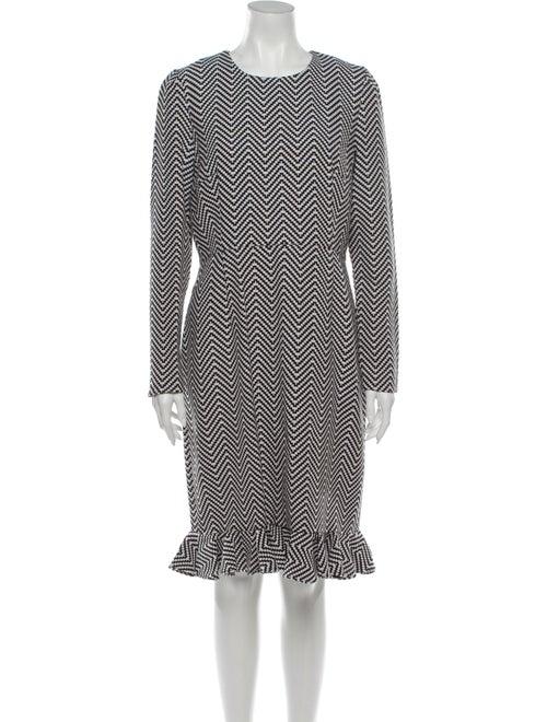 House of Holland Printed Knee-Length Dress Black