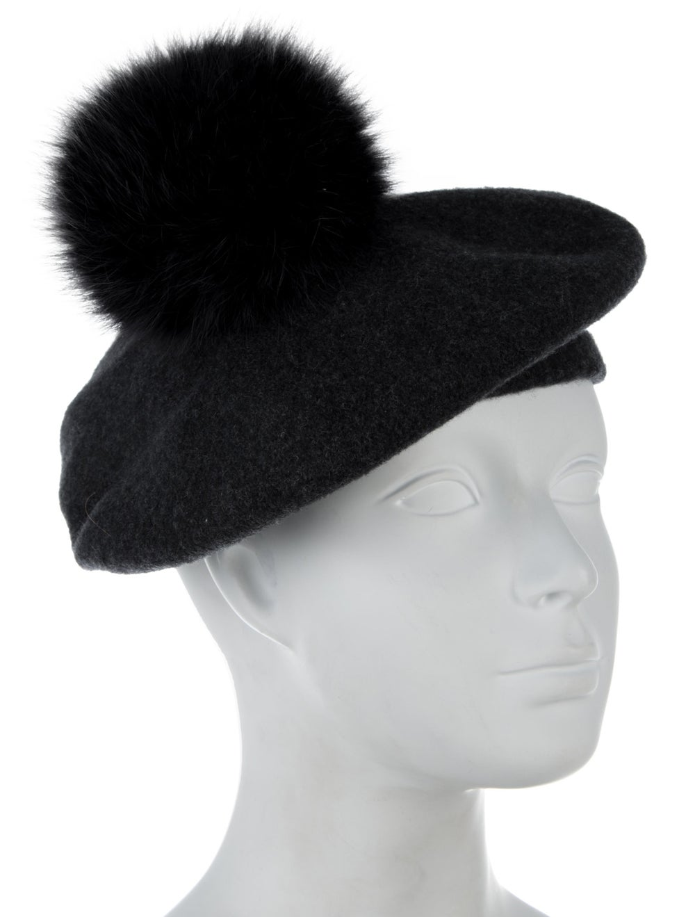 Lola Wool Pom-Pom Beret Grey - image 3