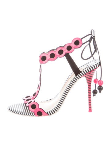 Patent Leather Lace-Up Sandals