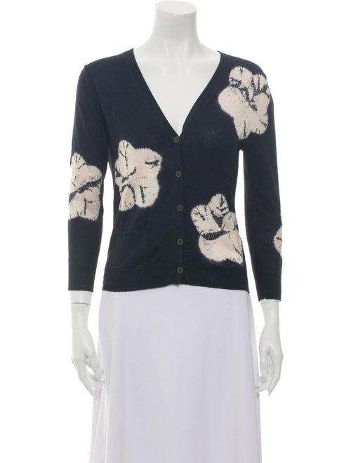 Samantha Sung Silk Tie-Dye Print Sweater Blue