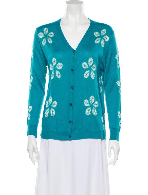 Samantha Sung Cashmere Tie-Dye Print Sweater Blue