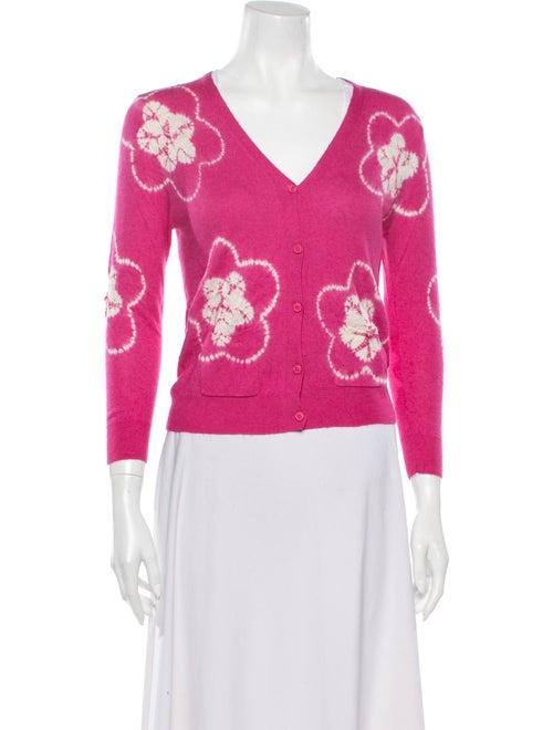 Samantha Sung Cashmere Tie-Dye Print Sweater Pink