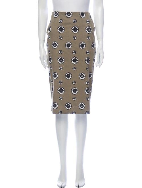Samantha Sung Tie-Dye Print Midi Length Skirt Gree