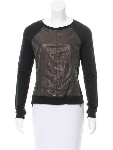 Aiko Leather-Accented Knit Sweatshirt None