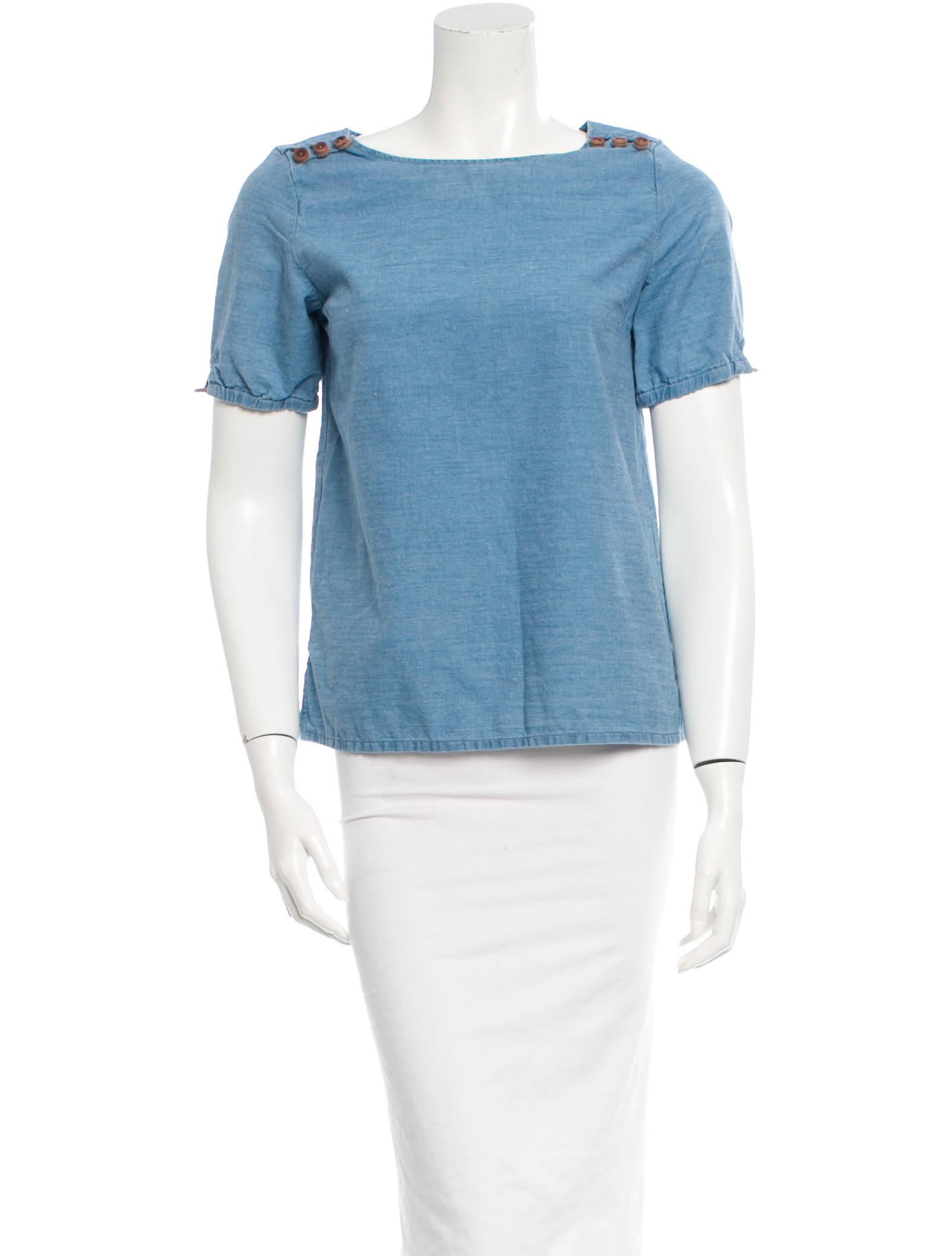 A p c chambray top clothing wa321860 the realreal for Chambray top
