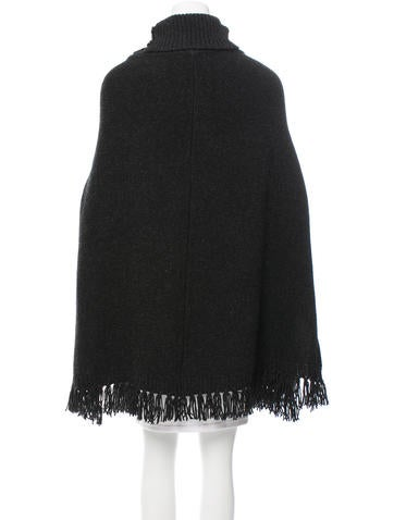 Wool Fringe-Trimmed Cape