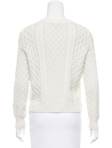 Silk-Blend Cable Knit Sweater