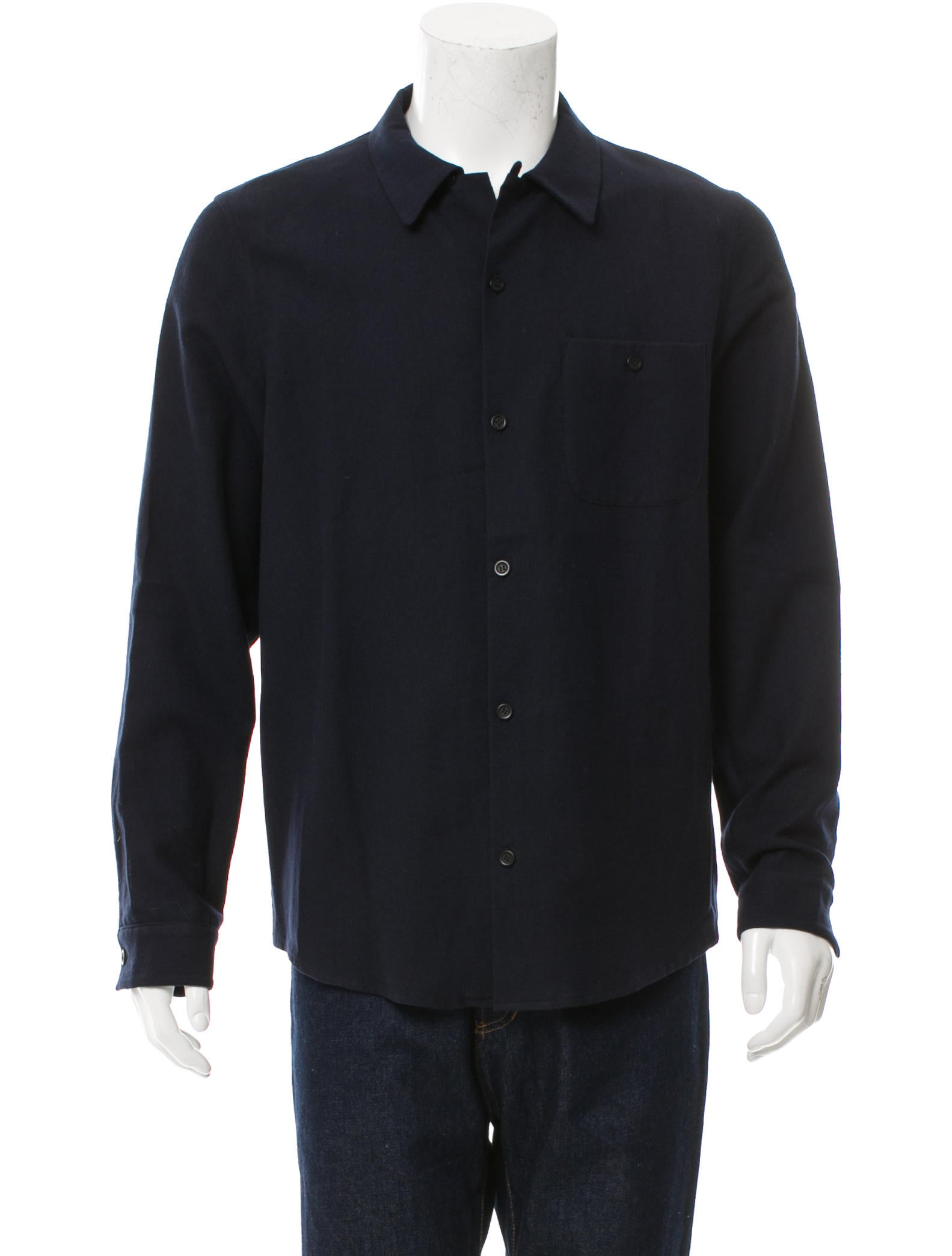 A p c wool blend flannel shirt clothing wa324320 for Mens wool flannel shirt