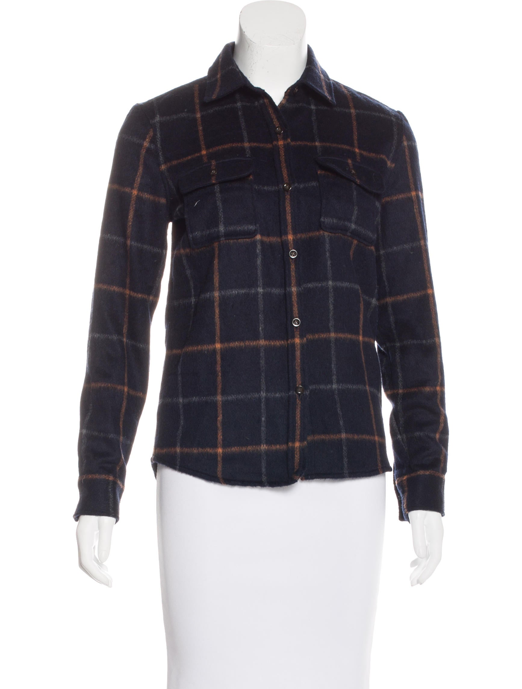 A p c wool blend long sleeve top clothing wa325069 for Best wool shirt jackets