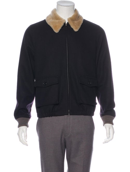 A.p.c. Shearling-Trimmed Wool Jacket navy