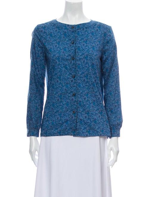 A.p.c. Floral Print Scoop Neck Button-Up Top Blue