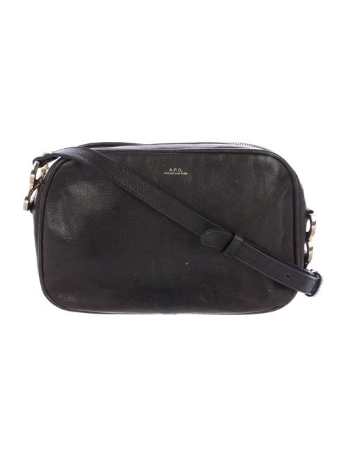 A.p.c. Grained Leather Crossbody Bag Black