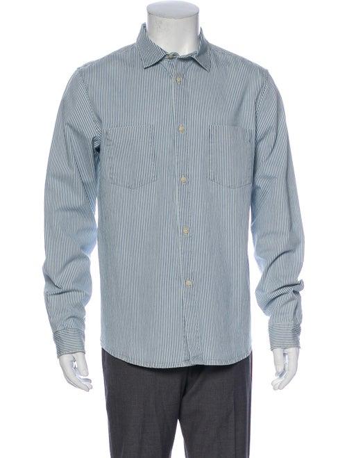A.p.c. Striped Long Sleeve Denim Shirt Denim