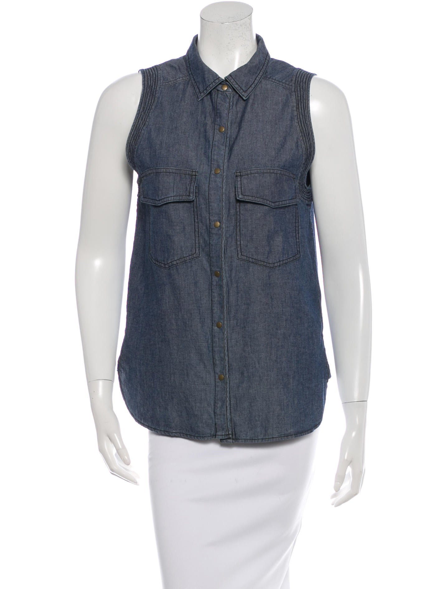 A l c chambray sleeveless top clothing wa430152 the for Chambray top