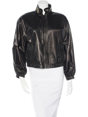A.L.C. Leather Mock Collar Jacket None