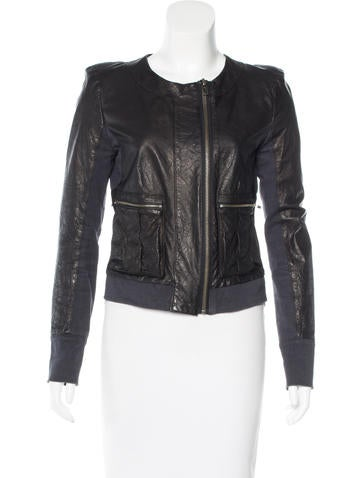 A.L.C. Rib Knit-Trimmed Leather Jacket None