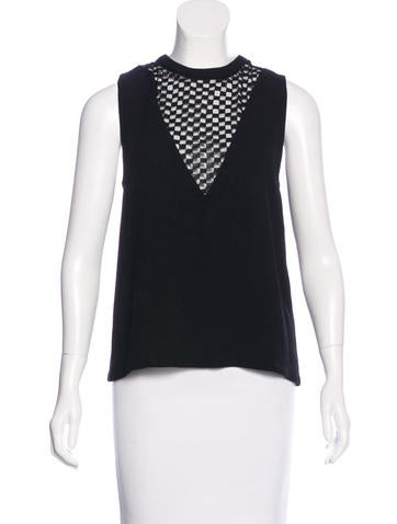 A.L.C. Lace-Accented Sleeveless Top None