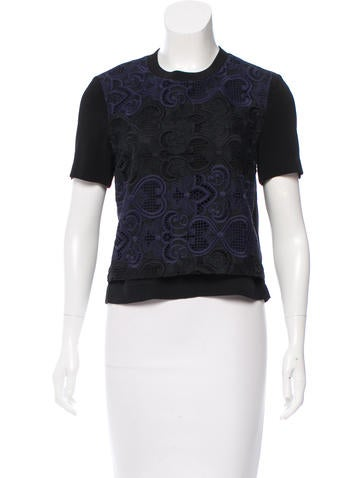 A.L.C. Embroidered Silk Top None