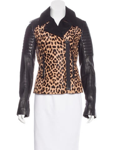 A.L.C. Leather-Trimmed Leopard Print Jacket None