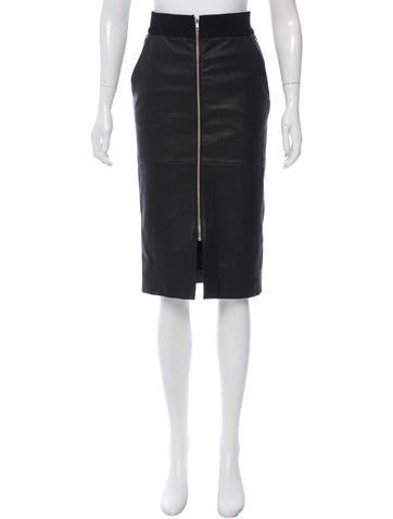 A.L.C. Leather Pencil Skirt None