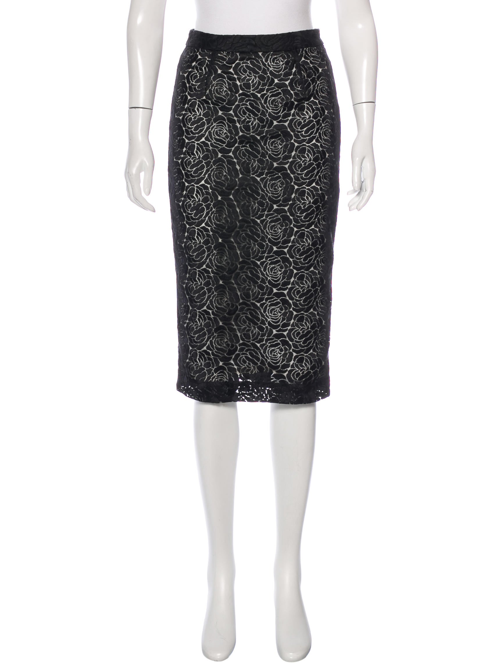 a l c embroidered pencil skirt clothing wa434766