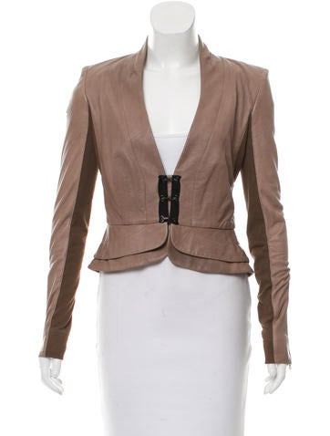 A.L.C. Leather Collarless Jacket None