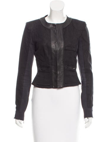 A.L.C. Leather-Trimmed Woven Blazer None