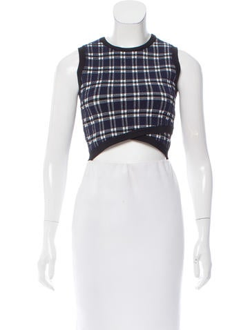 A.L.C. Plaid Knit Crop Top None