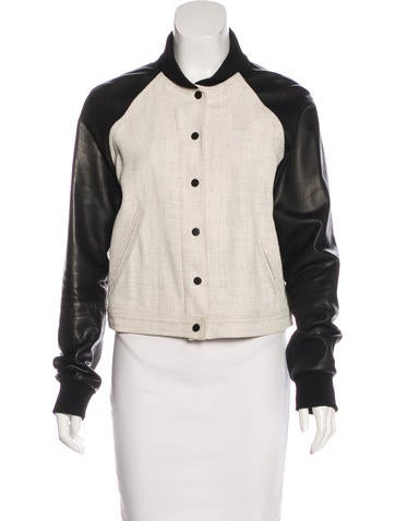 A.L.C. Leather-Paneled Bomber Jacket None