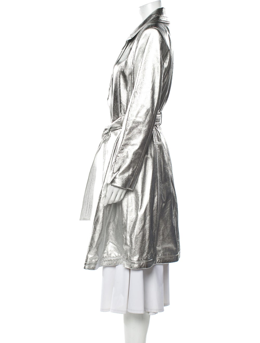 A.l.c. Lamb Leather Trench Coat Silver - image 2