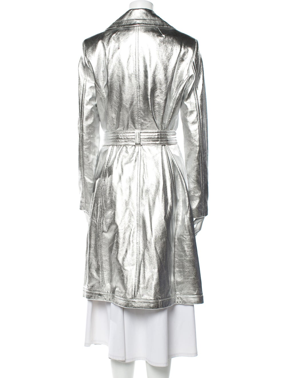 A.l.c. Lamb Leather Trench Coat Silver - image 3