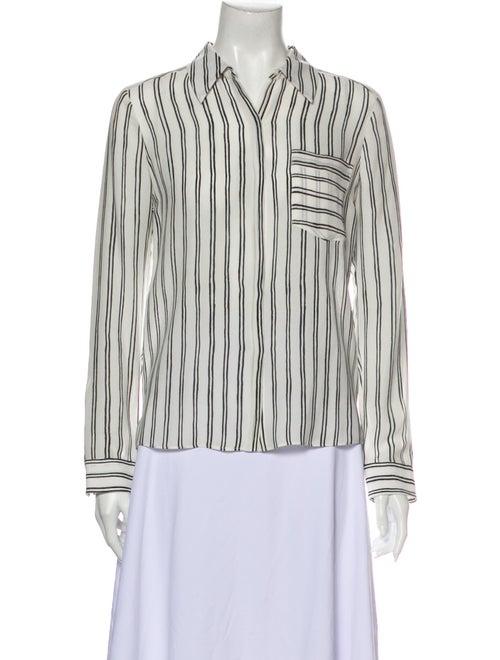 A.l.c. Silk Striped Button-Up Top White