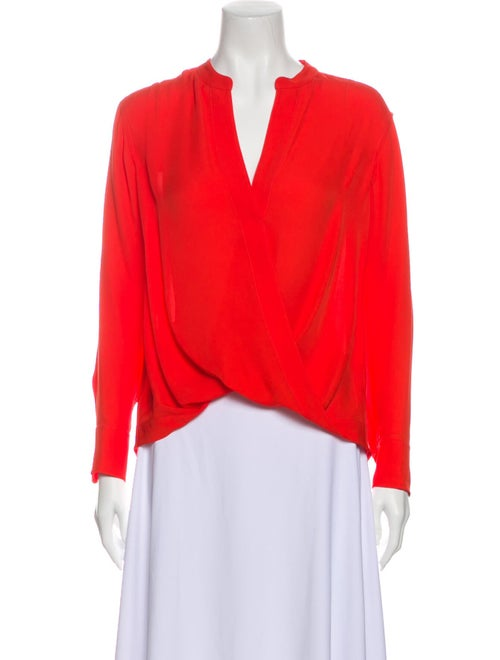 A.l.c. Silk V-Neck Blouse Red