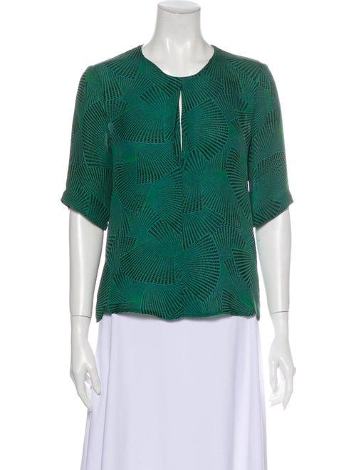 A.l.c. Silk Printed Blouse Green